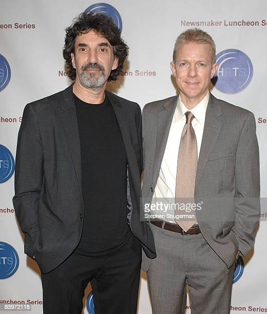 Executive Producer Chuck Lorre and HRTS President Kevin Beggs attend the Hollywood Radio and Television Society Presents 'The Hitmakers' at the...