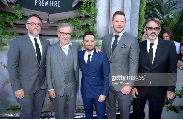 Executive producer Colin Trevorrow executive producer Steven Spielberg director JA Bayona actor Chris Pratt and producer Patrick Crowley arrive at...