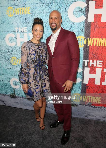 Executive producer Common and Angela Rye attend the premiere of Showtime's 'The Chi' at Downtown Independent on January 3 2018 in Los Angeles...