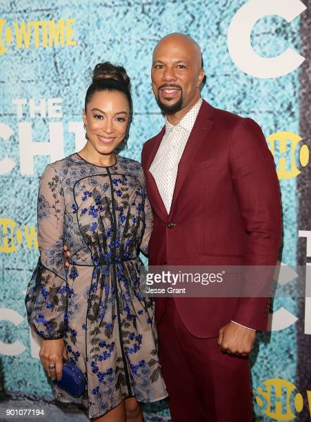 Executive producer Common and Angela Rye attend the premiere of Showtime's The Chi at Downtown Independent on January 3 2018 in Los Angeles California