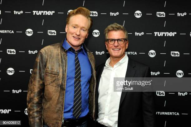 Executive producer Conan O'Brien of 'Final Space' and President TNT TBS / Chief Creative Officer Turner Entertainment Kevin Reilly pose in the green...