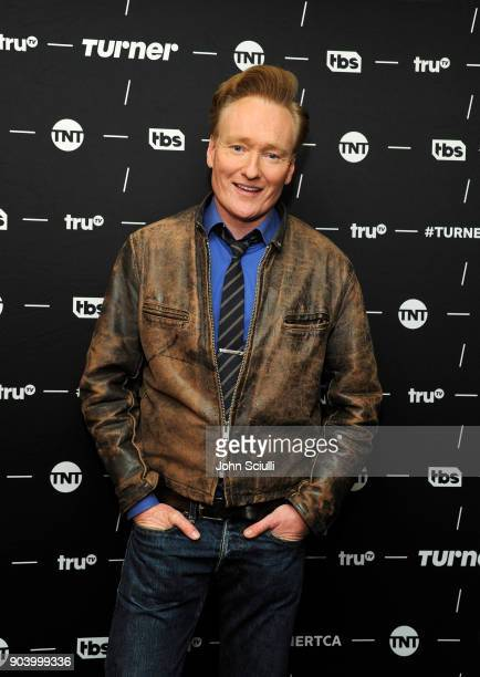Executive Producer Conan O'Brien of 'Final Space' poses in the green room during the TCA Turner Winter Press Tour 2018 Presentation at The Langham...