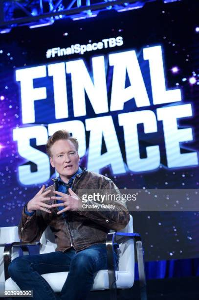 Executive producer Conan O'Brien of 'Final Space' speaks onstage during the TBS portion of the TCA Turner Winter Press Tour 2018 Presentation at The...