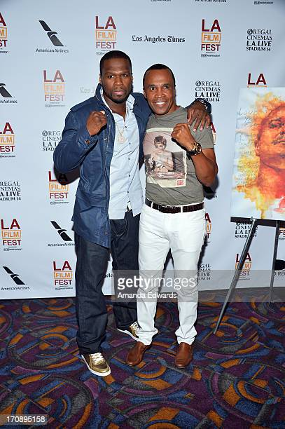 Executive producer Curtis 50 Cent Jackson and boxer Sugar Ray Leonard attend the Tapia premiere during the 2013 Los Angeles Film Festival at Regal...