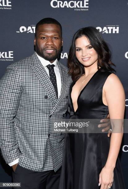 Executive Producer Curtis Jackson aka 50 Cent and actress Katrina law attens the priemere of Crackle's 'The Oath' at Sony Pictures Studios on March 7...