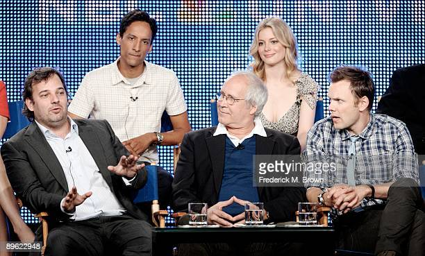 Executive producer Dan Harmon of the television show Community speaks as actors Danny Pudi and Gillian Jacobs and Chevy Chase and Joel McHale look on...