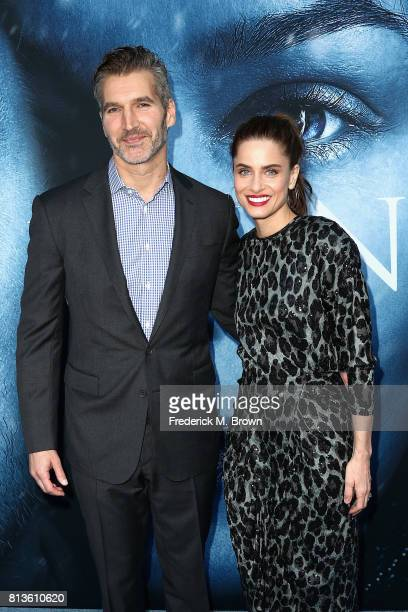 Executive producer David Benioff and actor Amanda Peet attend the premiere of HBO's 'Game Of Thrones' season 7 at Walt Disney Concert Hall on July 12...