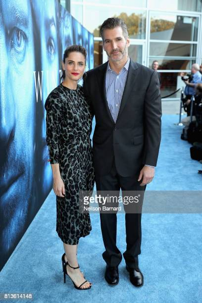 """Executive producer David Benioff and actor Amanda Peet attend the premiere of HBO's """"Game Of Thrones"""" season 7 at Walt Disney Concert Hall on July..."""