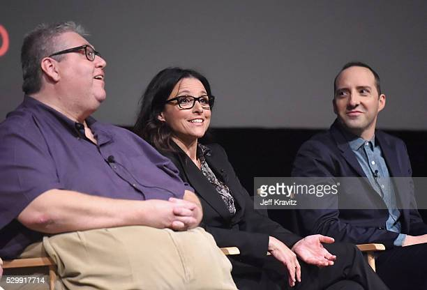 Executive producer David Mandel actors Julia LouisDreyfus and Tony Hale speak onstage during the 'VEEP' FYC panel at Paramount Studios on May 9 2016...