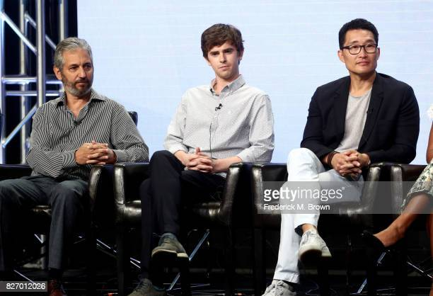 Executive producer David Shore actor Freddie Highmore and executive producer Daniel Dae Kim of 'The Good Doctor' speak onstage during the Disney/ABC...