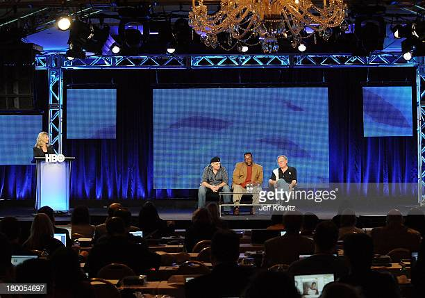 Executive producer David Simon, actor Wendell Pierce, and executive producer Eric Overmyer of Treme speak during the HBO portion of the 2010...