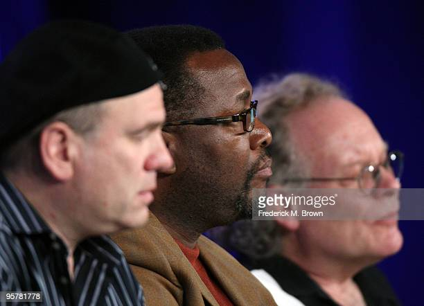 """Executive producer David Simon, actor Wendell Pierce, and executive producer Eric Overmyer of """"Treme"""" speak during the HBO portion of the 2010..."""