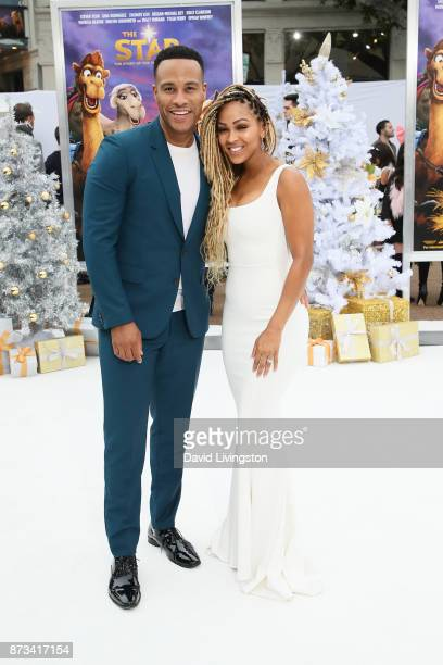 Executive Producer DeVon Franklin and Meagan Good arrive at the Premiere of Columbia Pictures' 'The Star' at the Regency Village Theatre on November...