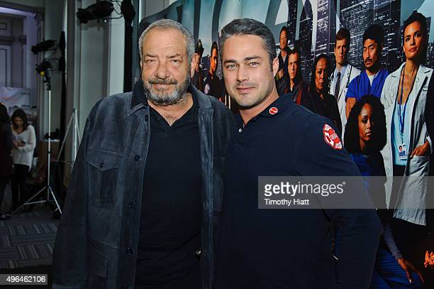 Executive Producer Dick Wolf and actor Taylor Kinney attend a press junket for NBC's 'Chicago Fire' 'Chicago PD' and 'Chicago Med' at Cinespace...