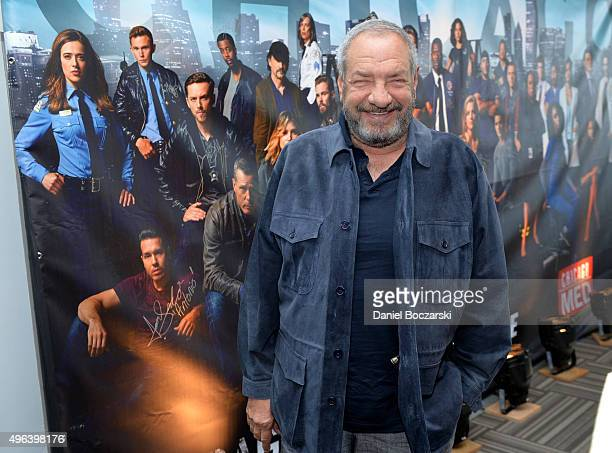 Executive Producer Dick Wolf attends a press junket for NBC's 'Chicago Fire' 'Chicago PD' and 'Chicago Med' at Cinespace Chicago Film Studios on...