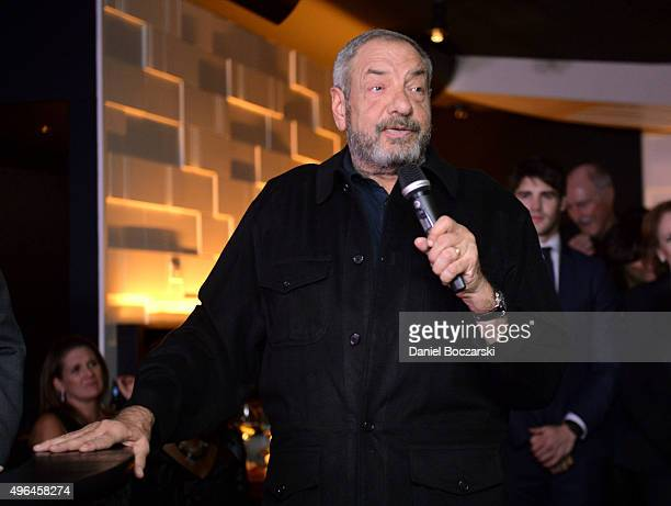 Executive Producer Dick Wolf speaks at the premiere party for NBC's 'Chicago Fire', 'Chicago P.D.' and 'Chicago Med' at STK Chicago on November 9,...
