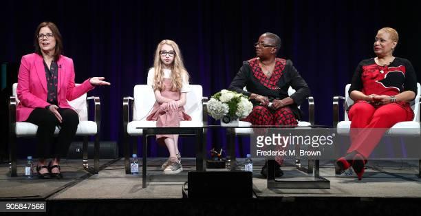 Executive Producer Dorothea Gilliam singer Kayla Erickson series advisior Akua F KouyateTate and singer Vaneese Thomas speak during the 2018 Winter...