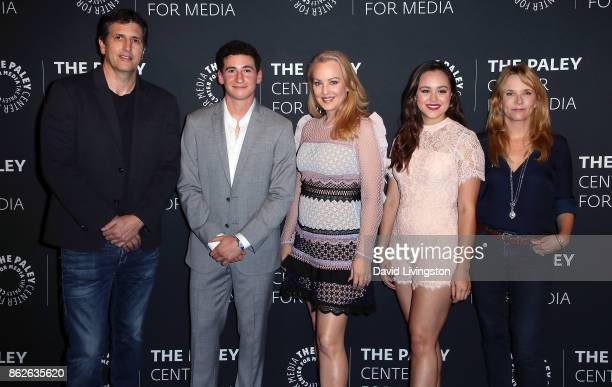 Executive producer Doug Robinson actors Sam Lerner Wendi McLendonCovey and Hayley Orrantia and actress/director Lea Thompson attend 'The Goldbergs'...