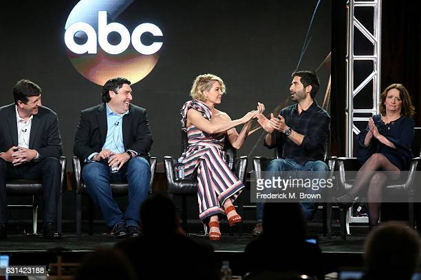 Executive Producer Doug Robinson Creator/Executive Producer Adam F Goldberg and actors Jenna Elfman Stephen Schneider and Rachel Dratch of the...