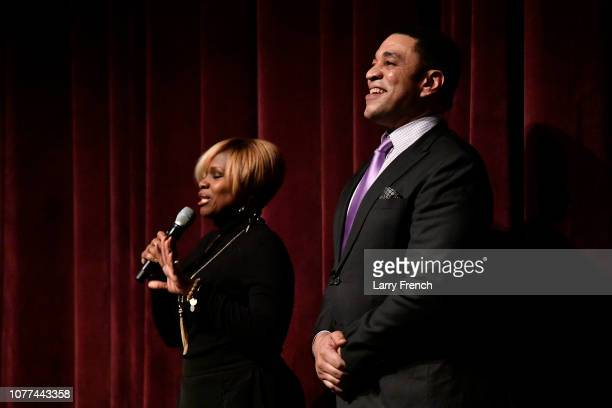 Executive Producer Dr. Holly Carter and Harry Lennix appear on stage at the premiere of Harry Lennix's Film Revival!, a gospel musical based on the...