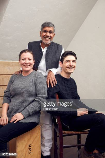 Executive Producer Elise Pearlstein Activist and Nobel Prize winner Kailash Satyarthi and Director Derek Doneen from the film 'Kailash' poses for a...