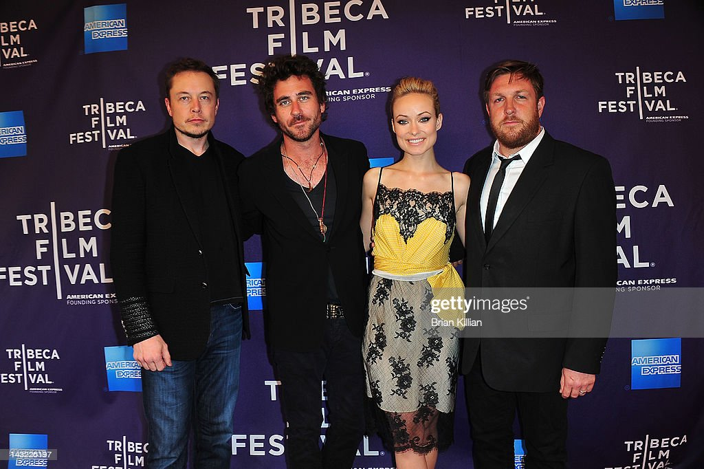 Executive producer Elon Musk, director Bryn Mooser, executive producer Olivia Wilde, and dirtector David Darg of the short Baseball in the Time of Cholera attend Shorts Program: Help Wanted during the 2012 Tribeca Film Festival at the AMC Loews Village 7 on April 21, 2012 in New York City.