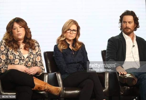 Executive producer Emily Kapnek and actors Jenna Fischer and Oliver Hudson speak onstage during the ABC Television/Disney portion of the 2018 Winter...