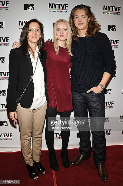 Executive Producer Emily Whitesell with actors Anna JacobyHeron and Alex Saxon attend the New York Television Festival panel 'Teenage Wasteland...