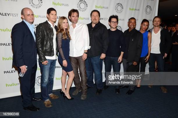 Executive producer Eric Kripke actors JD Pardo Tracy Spiridakos and Billy Burke executive producers Jon Favreau and JJ Abrams and actors Giancarlo...