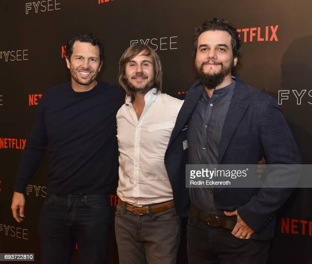 Executive Producer Eric Newman Director Adres Baiz and actor Wagner Moura attend the premiere of Netflix's Narcos FYC Event at Netflix FYSee Space on...