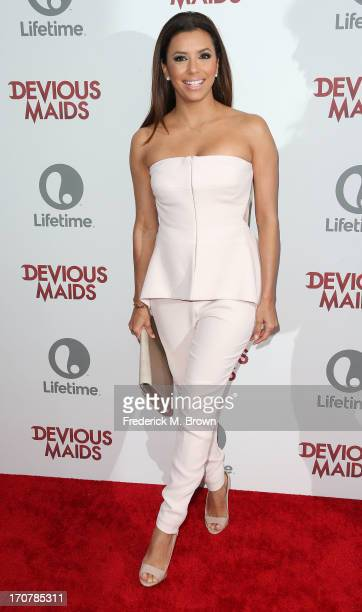 "Executive Producer Eva Longoria attends the premiere of Lifetime Original Series ""Devious Maids"" at the Bel-Air Bay Club on June 17, 2013 in Pacific..."
