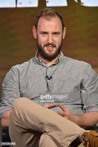 """Executive producer Evan Goldberg speaks onstage during the AMC Winter TCA Press Tour 2016 """"Preacher"""" panel at The Langham Huntington Hotel and Spa on..."""