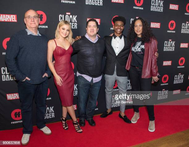 Executive producer executive vice president and head of Marvel television Jeph Loeb actress Olivia Holt executive producer Joe Pokaski actor Aubrey...