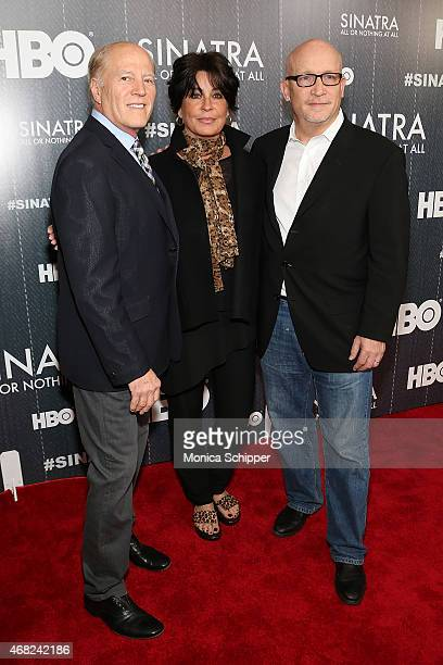 Executive Producer Frank Marshall Tina Sinatra and Director and Executive Producer Alex Gibney attend the Sinatra All Or Nothing At All New York...