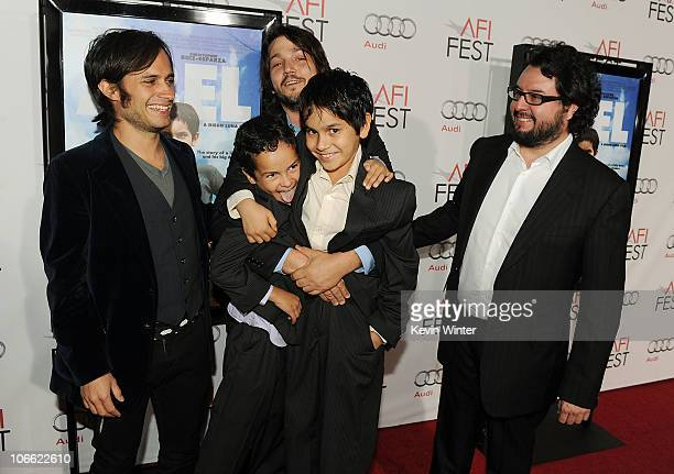 Executive producer Gael Garcia Bernal director Diego Luna producer Pablo Cruz and actors Gerardo RuizEsparza and Christopher RuizEsparza arrive at...