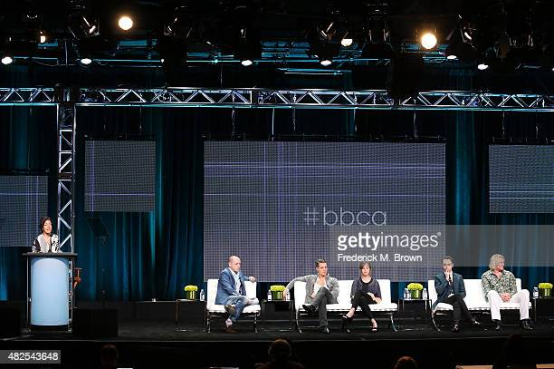 Executive producer Gareth Neame Alexander Dreymon Emily Cox David Dawson and Rune Temte speak onstage during the 'The Last Kingdom' panel discussion...