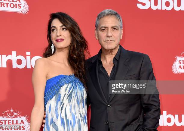 Executive producer George Clooney and his wife Amal Clooney arrive at the premiere of Paramount Pictures' Suburbicon at the Village Theatre on...
