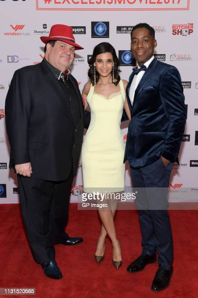 Executive Producer Gino Bravo Actress Andrea Drepaul and Executive Producer and Director Jaze Bordeaux attend the Italian Party presents Excelsis...