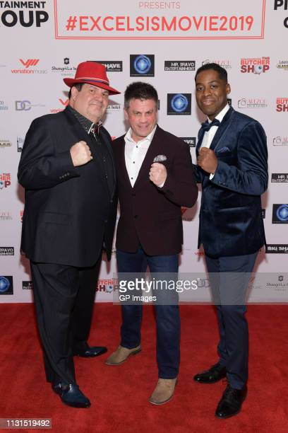 Executive Producer Gino Bravo Wayne Wells and Executive Producer and Director Jaze Bordeaux attend the Italian Party presents Excelsis Movie Sneak...