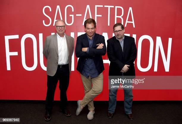 Executive producer Glenn Gordon Caron Michael Weatherly and Bruce Fretts attend SAGAFTRA Foundation Conversations Bull at The Robin Williams Center...