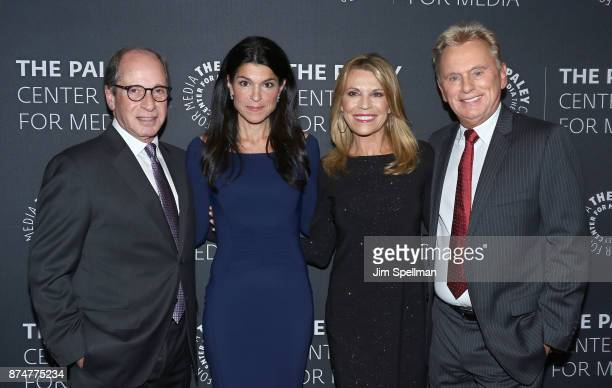 Executive producer Harry Friedman chief executive officer and director of The Paley Center Maureen J Reidy TV personalities Vanna White and Pat Sajak...