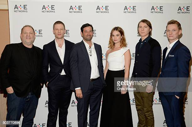 Executive producer Harvey Weinstein actor James Norton executive vicepresident and general manager of AE/Lifetime Rob Sharenow actress Lily James...