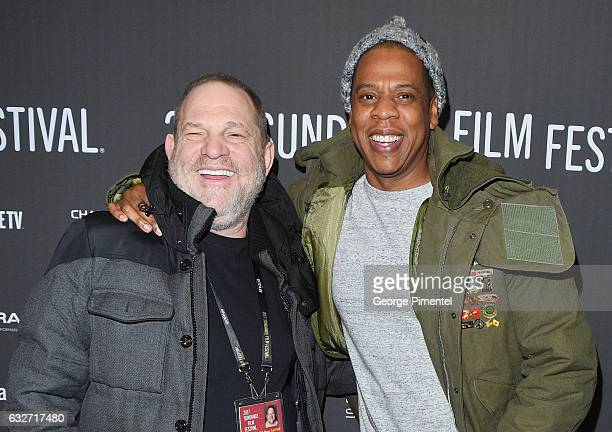 Executive producer Harvey Weinstein and Jay Z attend the 'Time The Kalief Browder Story' Premiere 2017 Sundance Film Festival at The Marc Theatre on...