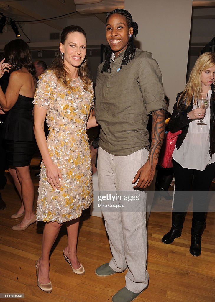 Executive Producer Hilary Swank and Jessica Breland of the WNBA attends preview of the first-ever 'Choose You' documentary, created by Executive Producer Hilary Swank, alongside 2S Films and Go Go Luckey Entertainment, in colaboration with The American Cancer Society at Metropolitan Pavilion on May 19, 2011 in New York City.