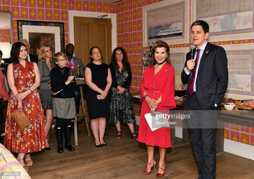 Executive producer HRH Princess Firyal of Jordan and IRC President and CEO David Miliband attend 'This is Home: A Refugee Story' - New York Premier Screening at Crosby Street Hotel on May 16, 2018 in New York City.