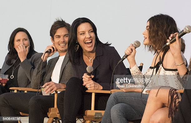 Executive Producer I Marlene King actors Tyler Blackburn Andrea Parker and Lucy Hale speak during panel at the Premiere of ABC Family's Pretty Little...