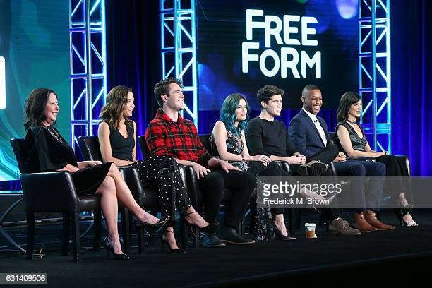Executive Producer I Marlene King and actors Georgie Flores Charlie DePew Bella Thorne Carter Jenkins Keith Power and Perrey Reeves of the television...