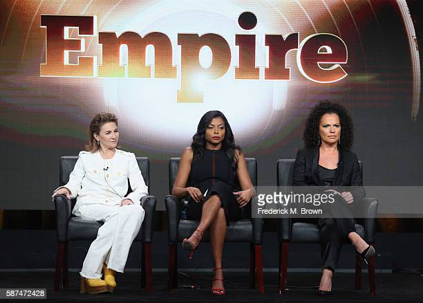 Executive producer Ilene Chaiken actress Taraji P Henson and executive producer Sanaa Hamri speak onstage at 'Empire' panel discussion during the FOX...
