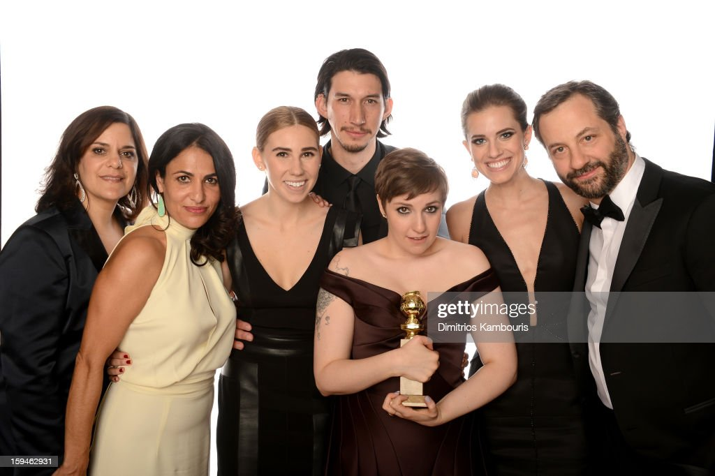 Executive Producer Ilene Landress, Writer/Producer Jennifer Konner, actress Zosia Mamet, actor Adam Driver, actress/writer Lena Dunham, Allison Williams and producer Judd Apatow of 'Girls' pose for a portrait at the 70th Annual Golden Globe Awards held at The Beverly Hilton Hotel on January 13, 2013 in Beverly Hills, California.
