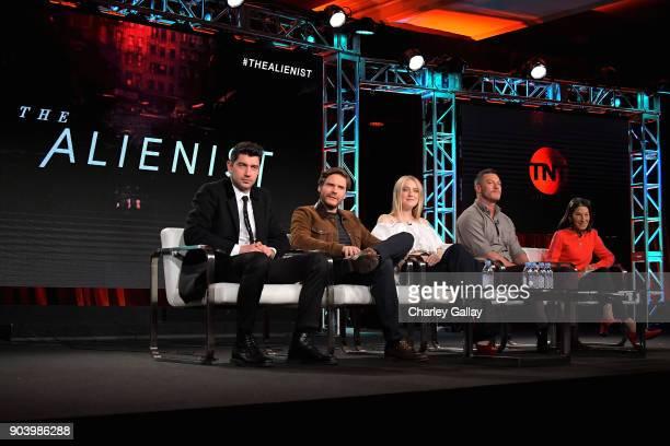 Executive producer Jakob Verbruggen actors Daniel Bruhl Dakota Fanning Luke Evans and Executive producer Rosalie Swedlin of 'The Alienist' speak...